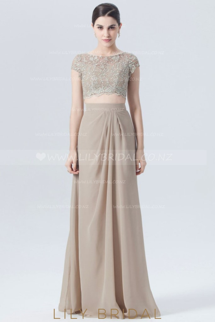 Bateau Neck Cap Sleeve Two-Piece Chiffon Bridesmaid Dress With Sheer Embroidery Bodice