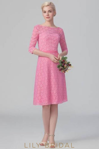 Bateau Neck 1/2 Sleeve Fuchsia Lace Short Bridesmaid Dress