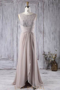 Bateau Neck Lace Chiffon Asymmetrical Bridesmaid Dress With Sequins