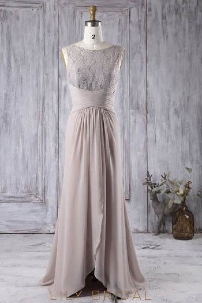 Bateau Neck Lace Chiffon Asymmetrical Evening Dress With Sequins