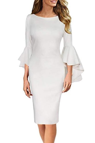 Bateau Neck Long Trumpet Sleeves Knee-Length Bodycon Mother Of The Bride Dress