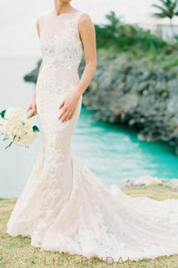Bateau Neck Open Back Champagne Lace Mermaid Bridal Dress