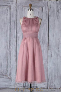 Bateau Neck Sleeveless Zipper-Up Knee-Length Solid Ruched Sheath Bridesmaid Dress