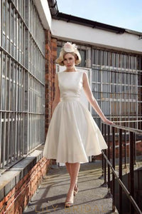 Bateau Neckline Knee-Length Ivory Satin Bridal Dress