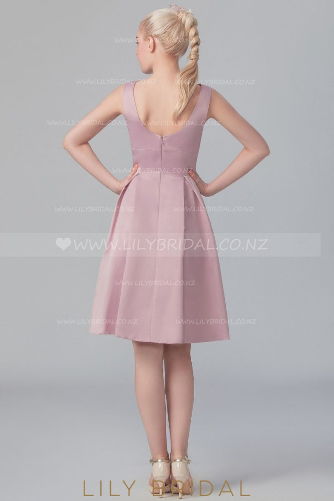 Bateau Neckline Satin Cocktail Dress With Pleats
