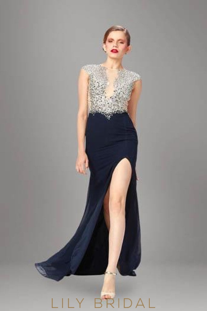 Bateau Neckline Sleeveless Split Chiffon Evening Dress With Illusion Beaded Bodice