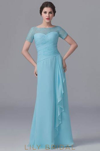 Bateau Short Sleeve Ruched Chiffon Bridesmaid Dress With Lace