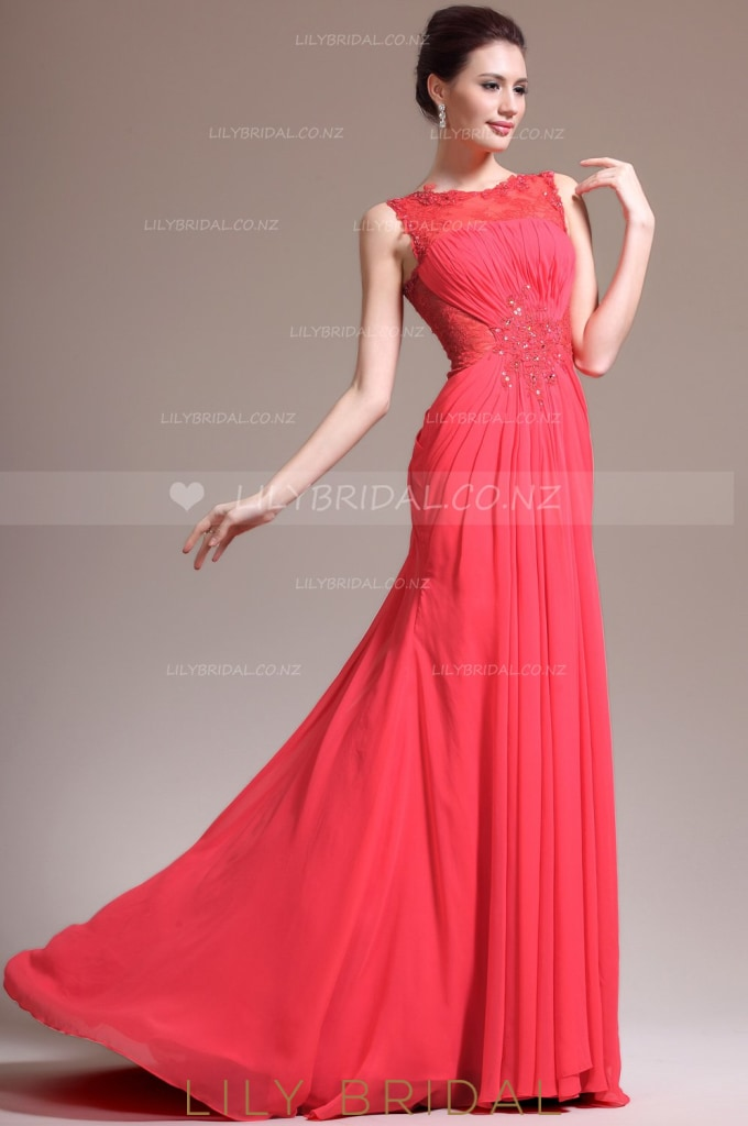 Bateau Sleeveless Beaded Chiffon Mermaid Evening Dress With Illusion Lace Bodice