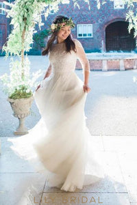 Bateau 3/4 Sleeve Sweep Train Tulle Wedding Dress With Illusion Lace Bodice