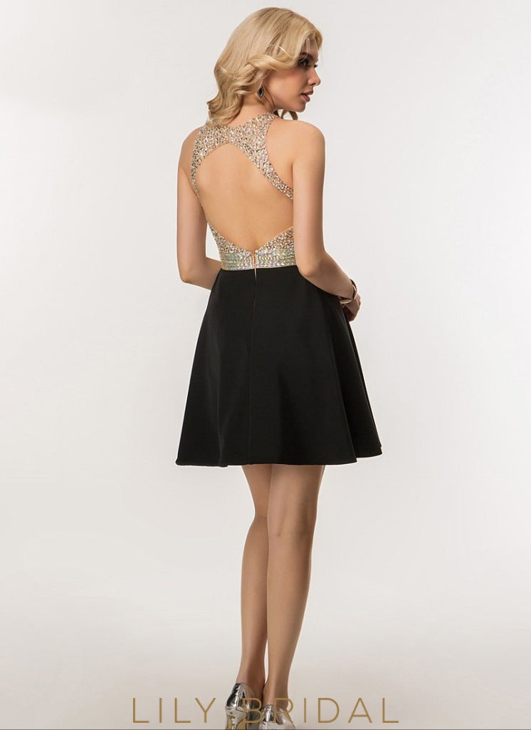 Beaded A-Line Short Black Sleeveless Jewel Neckline Keyhole Back Prom Dress