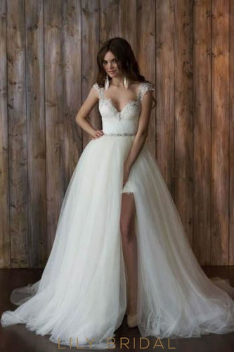 Beaded Backless Lace Bridal Dress With Detachable Tulle Overskirt