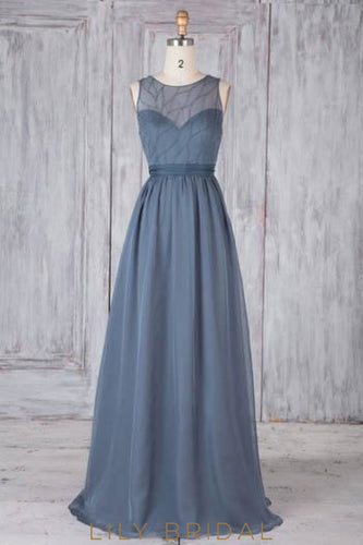 Beaded Bow-knot Illusion Scoop Neck Sleeveless Open Back Long Solid Sheath Bridesmaid Dress