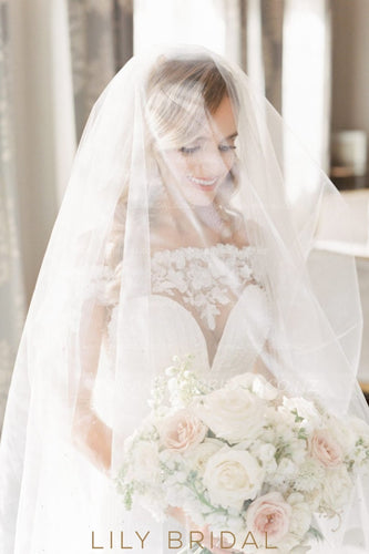 Beaded Cut Edge Chapel Length Bridal Veil in Silk Effect Tulle