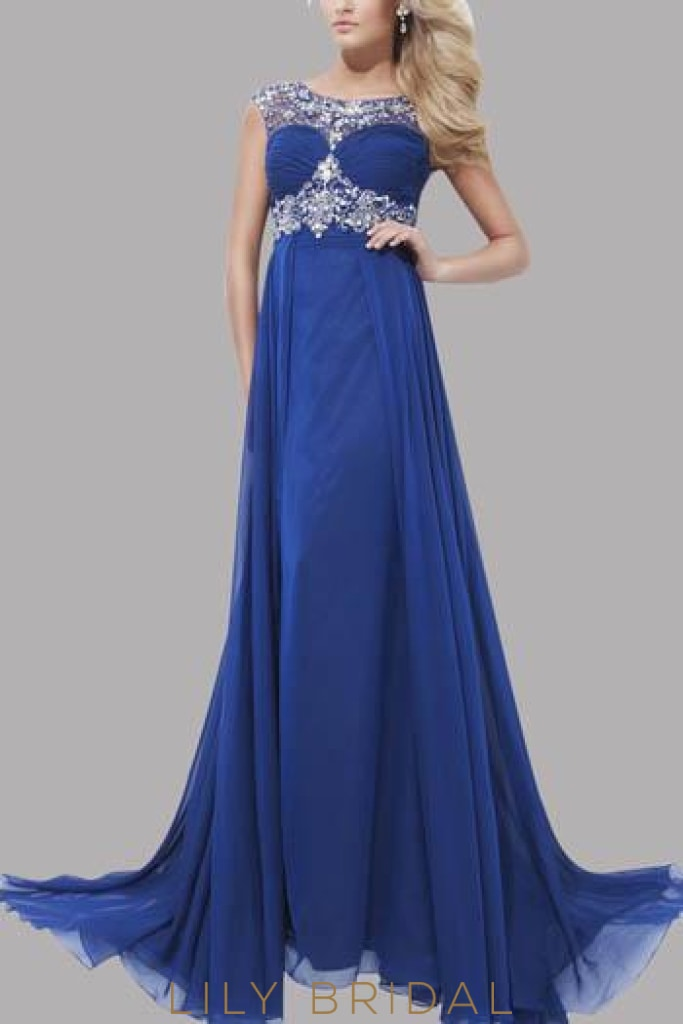 Beaded Empire Waist Scoop Neckline Open Back Sweep Train Chiffon Evening Dress With Overskirt