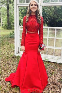 Beaded High Neck Long Sleeves Open Back Two Piece Long Solid Mermaid Evening Dresses