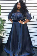 Beaded Illusion Bateau Neck Long Sleeves Plus Size Long Solid Satin Evening Dress