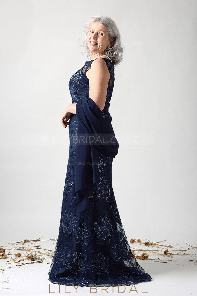 Beaded Illusion Bateau Neck Sleeveless Zipper-Up Long Mother of the Bride Dress with Shawl