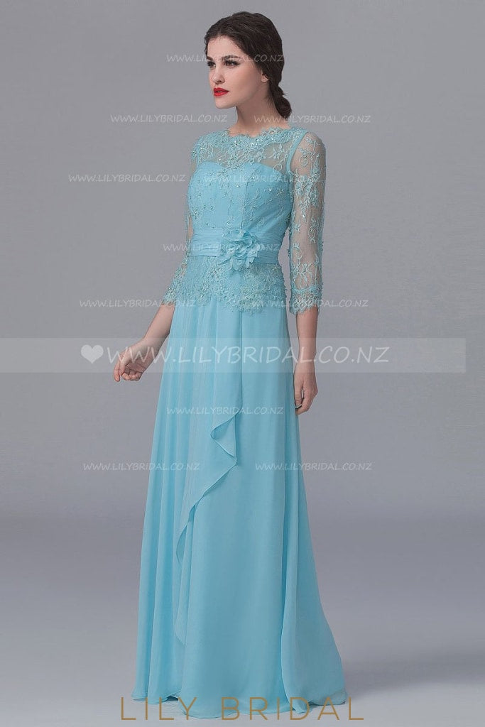 Beaded 3/4 Sleeve Illusion Chiffon Bridesmaid Dress With Lace