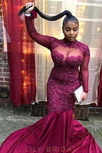 Beaded Illusion High Neck Long Sleeves Plus Size Long Solid Mermaid Prom Dress