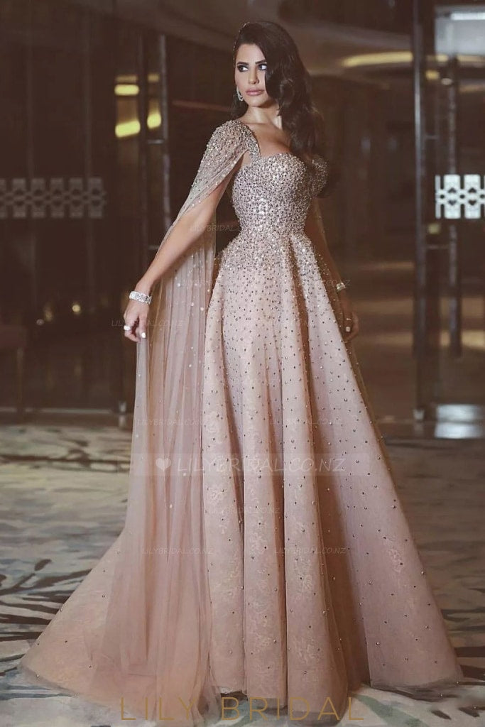 Luxury Beaded Illusion Long Sleeves Long Tulle Evening Dress with Court Train