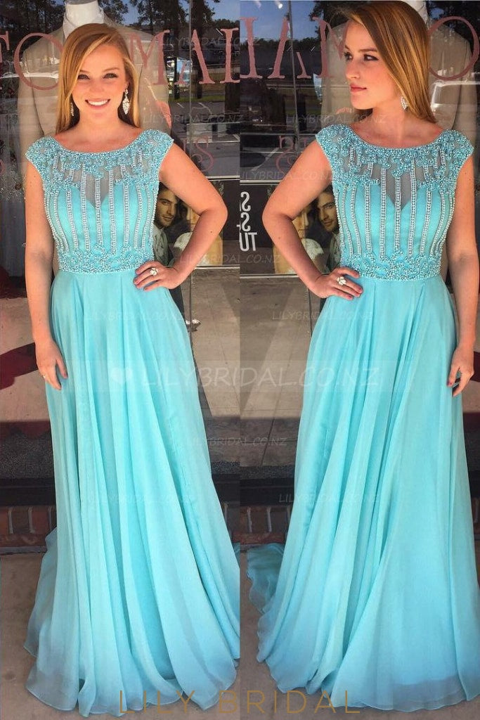 Chic Beaded Illusion Scoop Neck Cap Sleeves Long Solid Pleated Chiffon Evening Dress