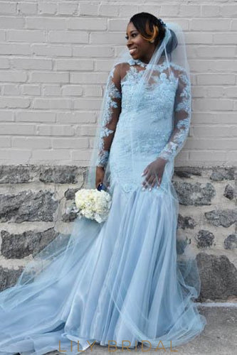 Beaded Illusion Scoop Neck Long Sleeves Long Solid Mermaid Wedding Dress