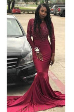 Beaded Illusion Scoop Neck Long Sleeves Long Stretch Mermaid Evening Dress