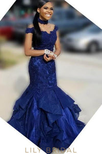 Beaded Lace Ruffles Off Shoulder Cap Sleeves Floor-Length Mermaid Prom Dress