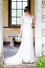 Beaded Low V-Neck Cap Sleeve Mermaid Wedding Dress With Court Train