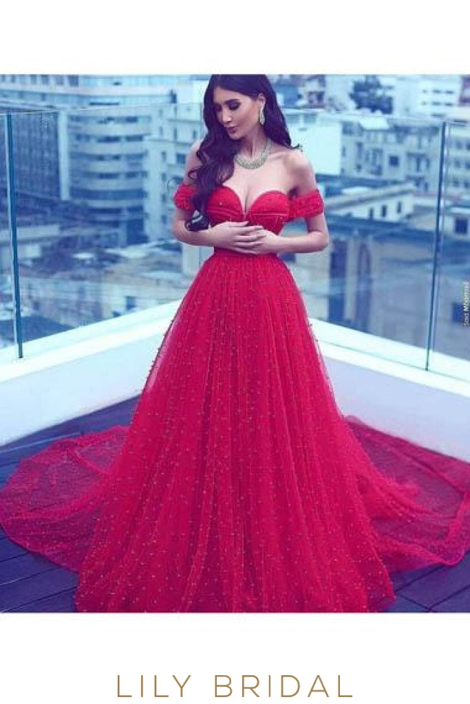 Beaded Off Shoulder Lace-Up Long Solid Tulle Evening Dress with Chapel Train