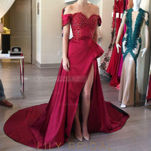 Elegant Beading Off Shoulder Long Solid Slit Asymmetrical Prom Dress with Court Train