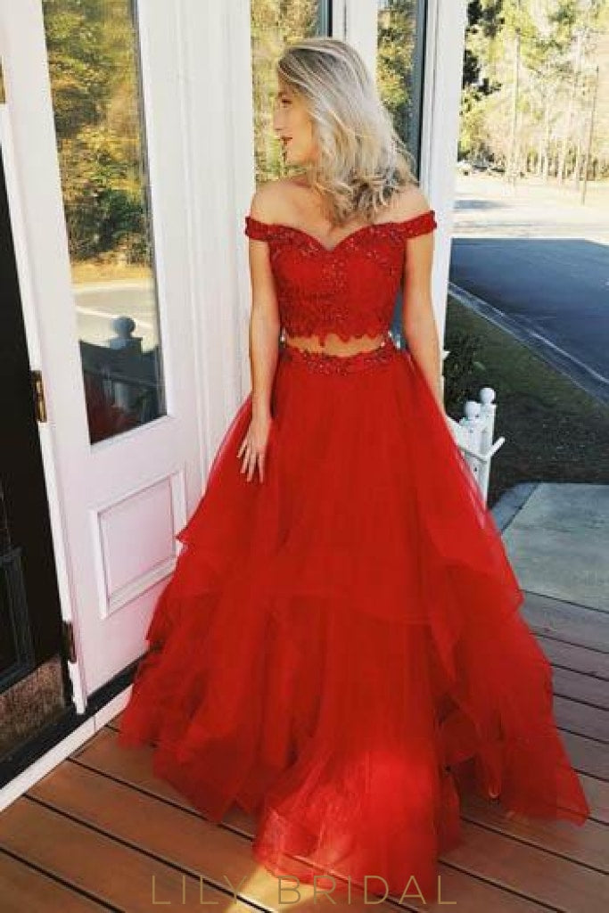 Beading Off Shoulder Two Piece Floor-Length Solid Tulle Princess Red Evening Dresses