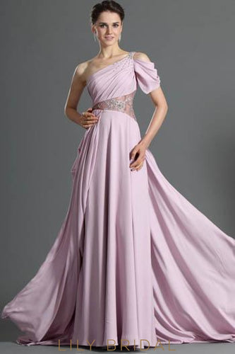 Beaded One-Shoulder Asymmetrical Chiffon Evening Dress With Sweep Train