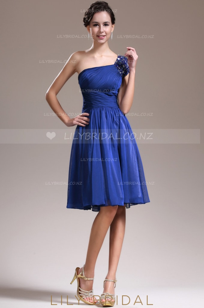 Beaded One-Shoulder Royal Blue Cocktail Dress With Ruched Bodice