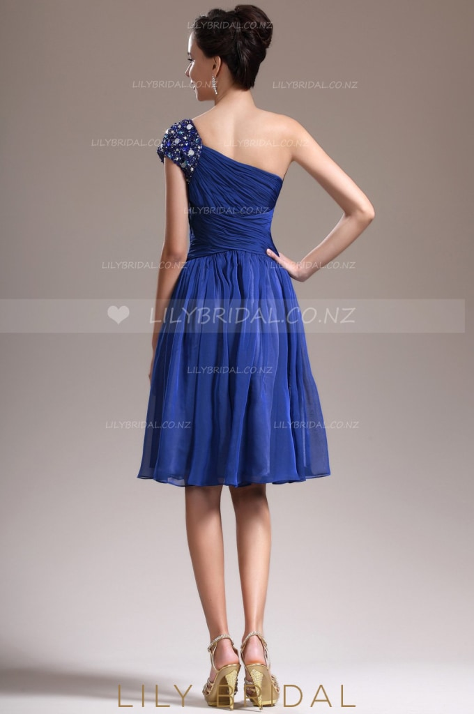 Beaded One-Shoulder Royal Blue Chiffon Cocktail Dress