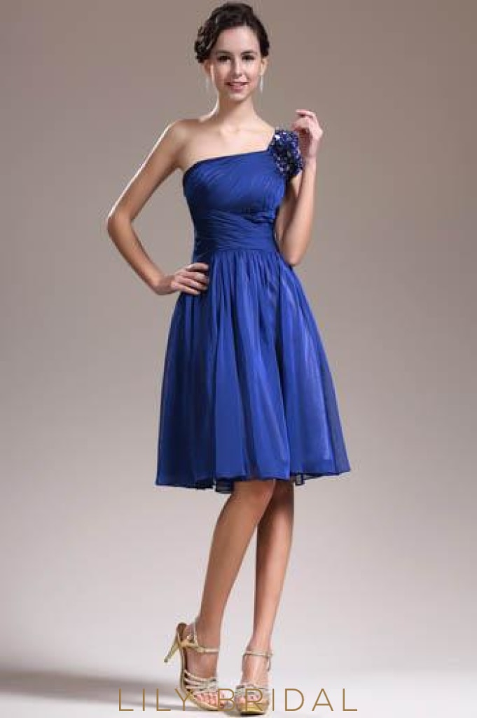 Beaded One-Shoulder Royal Blue Chiffon Cocktail Dress With Ruched Bodice