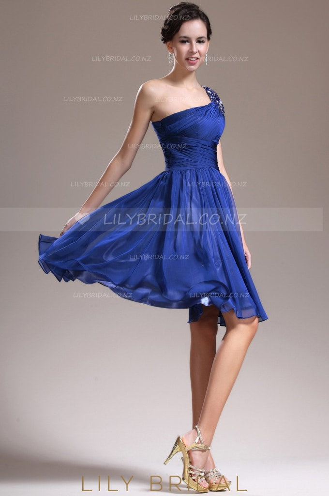 One-Shoulder Royal Blue Chiffon Cocktail Dress With Ruched Bodice