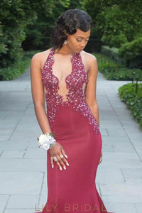 Beaded Rhinestone Illusion Halter Neck Sleeveless Backless Long Mermaid Prom Dress