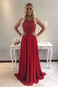 Beading Rhinestone Illusion Scoop Neck Sleeveless Zipper-Up Long Sheath Chiffon Prom Dress