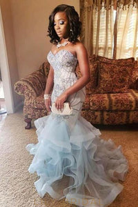 Beaded Ruffles Sweetheart Sleeveless Lace-Up Long Mermaid Prom Dress with Sweep Train