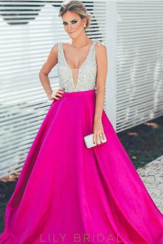 Beaded Satin Long Prom Dress With Plunging V-Neck