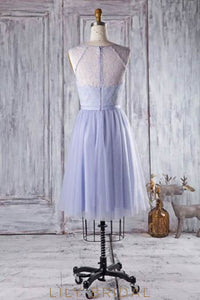 Beaded Scoop Neck Knee-Length Tulle Bridesmaid Dress With Lace