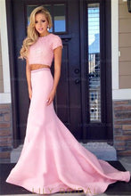 Beaded Scoop Neck Short Sleeves Two Piece Long Mermaid Prom Dresses With Court Train