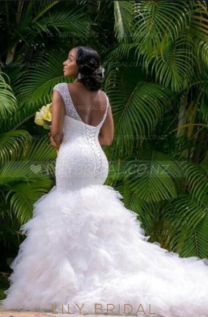 Luxury Beaded Sequin V-Neck Cap Sleeves Lace-Up Long Mermaid Wedding Gown