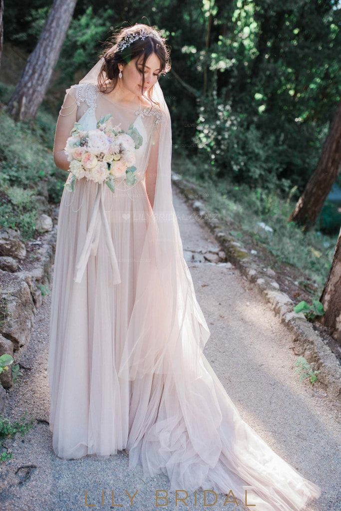 Beaded Sheer Neck Cap Sleeve Champagne Tulle Wedding Dress With Chains