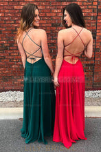 Beaded Spaghetti Straps Sleeveless Lace-Up Floor-Length Solid Slit Pleated Evening Dress