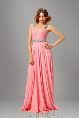 Beaded Strap Chiffon Evening Dress With Panel Train