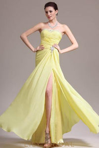 Beaded Strapless Floor-Length Split Chiffon Mermaid Evening Dress With Brooch