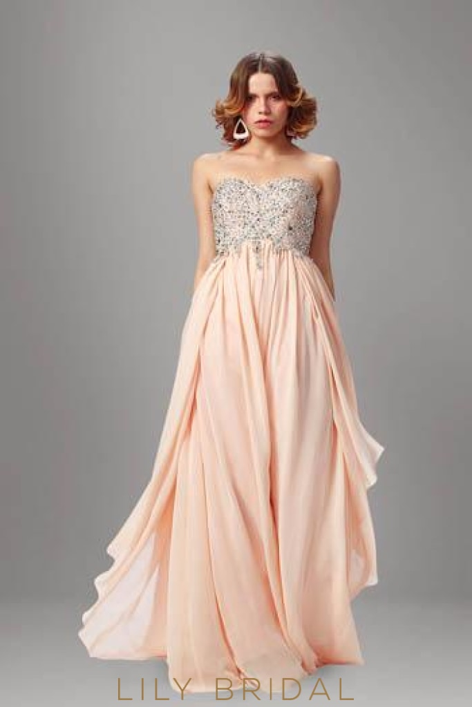 Beaded Strapless Sweetheart Floor-Length Chiffon Overlap Evening Dress