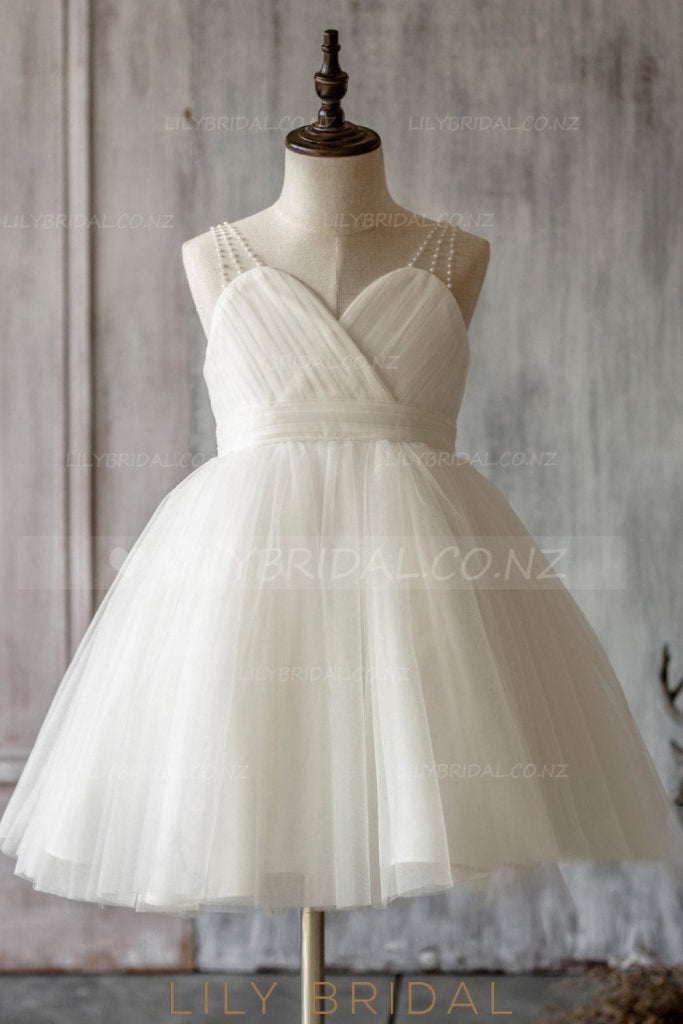 Beaded Straps Sleeveless Zipper-Up Ankle-Length Solid Ruched Tulle Flower Girl Dress